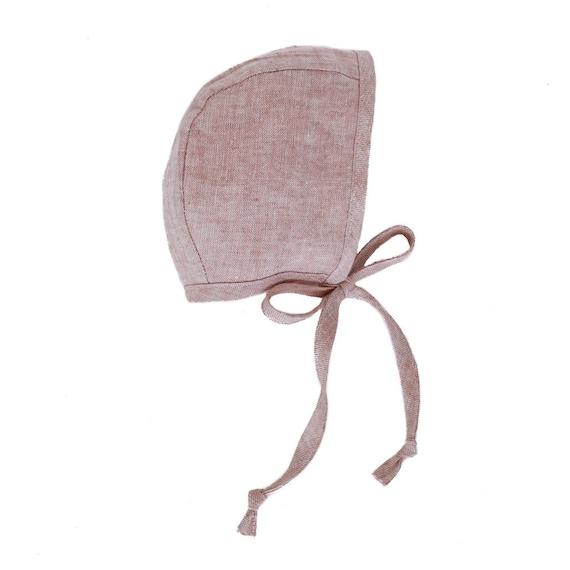 Baby Girl Blush Pink Linen Baby Bonnet, Fall, Autumn, Boho, Vintage, Sun Bonnet, Organic, Handmade, Toddler Girl, Baby Shower Gift, Tie