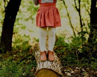 Terra Cotta Linen Girls Suspender Skirt, High Waist Toddler Skirt, Baby Skirt, Fall Outfit,  Autumn Outfit, Fall, Back to School, Rust