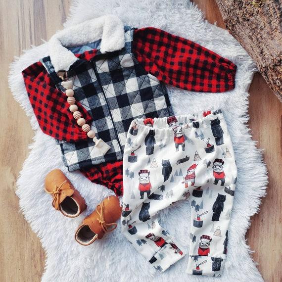 Lumberjack Baby Boy Leggings, Red Plaid, Organic Cotton Knit, First Birthday, Cake Smash, Winter Outfit, Cloth Diaper Friendly, Harem Pants