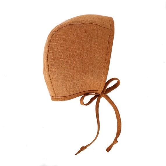 Baby Girl Rust Linen Baby Bonnet, Fall, Autumn, Boho Hippe, Vintage, Sun Bonnet, Organic, Handmade, Toddler Girl, Baby Shower Gift, Tie