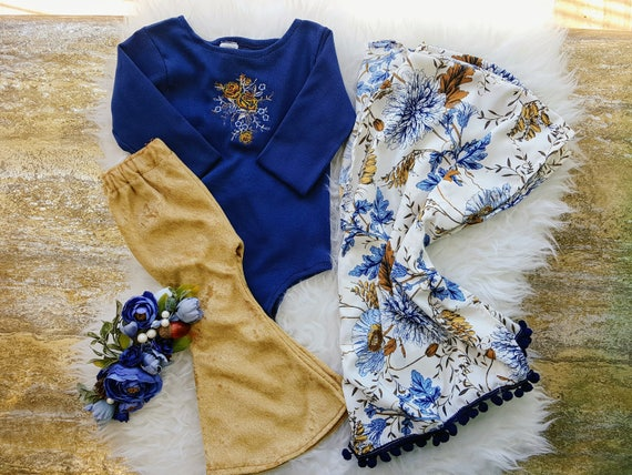 Baby Girl Kimono, Girls Cardigan, Blue and Gold Cover up, Pom Pom Kimono, Toddler,  Fall Outfit, Bithday Outfit, Boho Clothing
