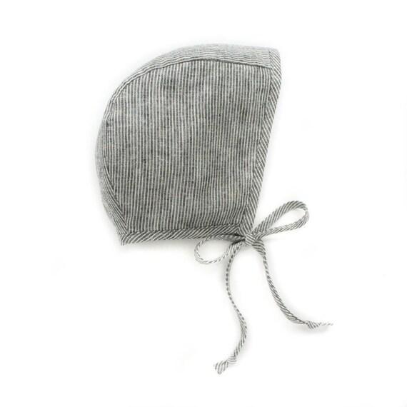 Baby Girl Boy Striped Linen Baby Bonnet, Fall, Autumn, Boho, Vintage, Sun Bonnet, Organic, Handmade, Toddler Girl, Baby Shower Gift, Tie