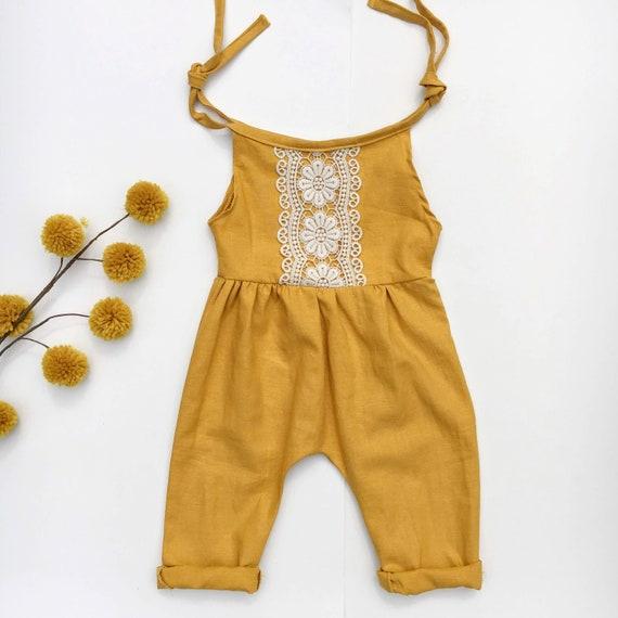 e55081f04 offer discounts af5e5 c1a14 baby romper linen baby tie romper fall ...