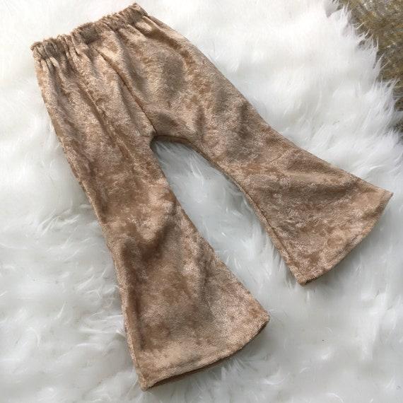 Girl Bell Bottoms, Tan Velvet, Boho Pants, Toddler Pants, Baby Girl, Flare Leg, Bell Bottom, Fall Outfit, Crushed Velvet, Leggings, Beige