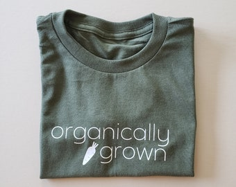 Organically Grown T-Shirt, Toddler Tee, Graphic T-Shirt, Minimalistic, Gender Neutral, Unisex, Farmer, Country Style, Olive Green,