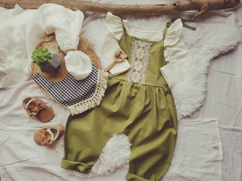 05edb7756d38 Baby Romper Linen Baby Tie Romper Spring Outfit Olive