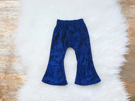 Navy Blue Velvet Baby Bell Bottoms