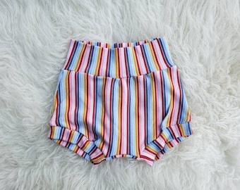 Baby Bloomers, Knit Shorts, Toddler Shorties, Diaper Cover, Nappy Cover, Bummies, High Waist, Stripe, Boho, Rainbow Print, Summer, Outfit