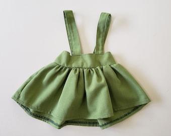 Green Linen Girls Suspender Skirt, High Waist Toddler Skirt, Toddler Skirt with Suspenders, Baby Skirt, Winter