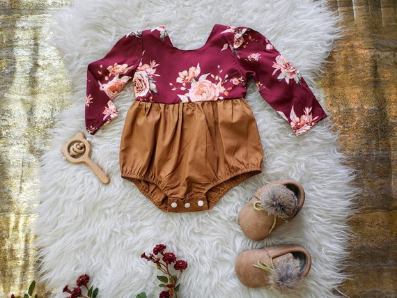Baby Girl, Romper, Burgundy, Floral, Long Sleeve, Brown, Boho, Playsuit, Bubble Romper, Toddler Girl Outfit, Winter, Holiday Outfit