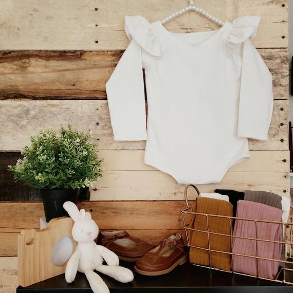 Cream Organic Cotton Knit Flutter Long Sleeve Leotard, Baby Girl, Toddler Girl, Boho, Snap, Dance Wear, First Birthday, Photography Prop