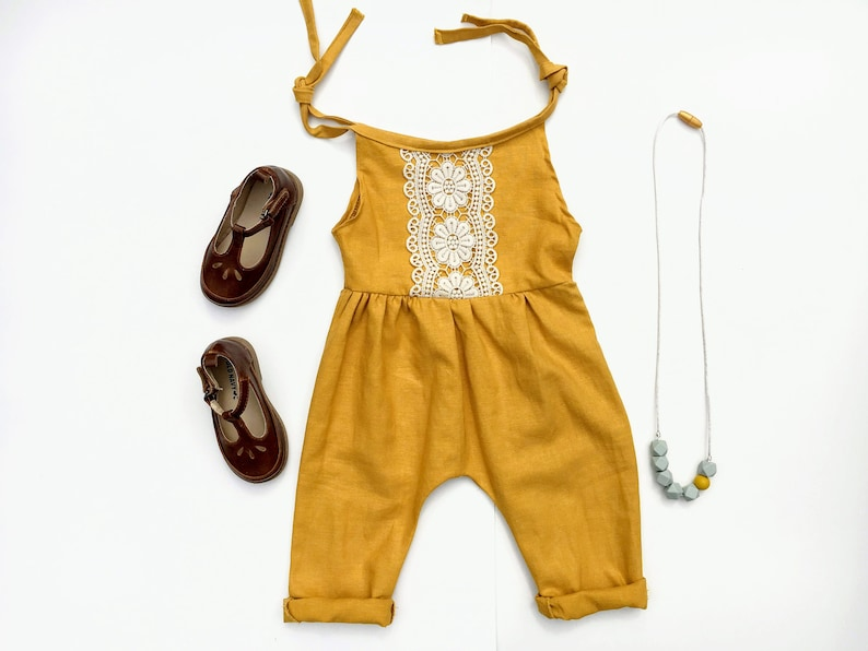 f89bf37426 Baby Romper Linen Spring Outfit Mustard Yellow Baby Shower