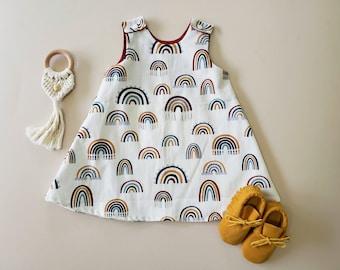 Baby Girl Dress, Rainbow Print, Toddler Girl, Birthday Outfit, Girl's Dress, Spring, A Line, Boho Chic, Mustard Yellow, Sleeveless, Easter