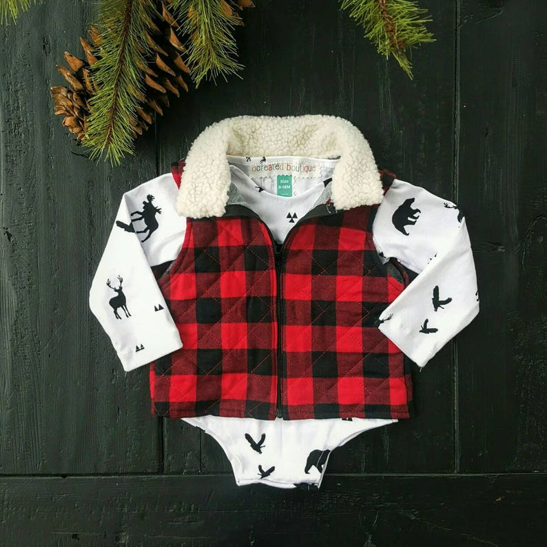 11048a505119 Red Buffalo Plaid Quilted Vest Baby Boy Vest Baby Girl | Etsy