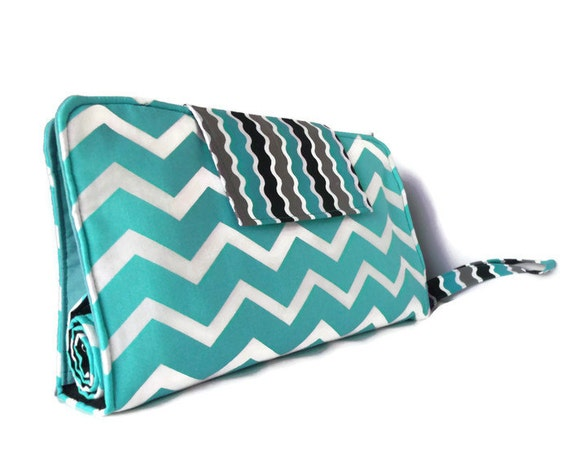 Diaper Clutch With Changing Pad And Wipes Case - Chevron Print {Teal, Grey and Black} Three Piece Set