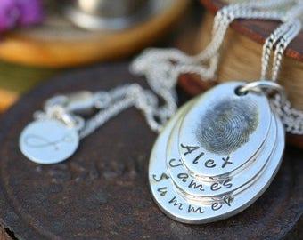 Fingerprint Oval Trio Necklace