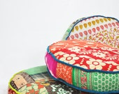 Patchwork floor cushion covers - Indian Kantha Quilt fabrics