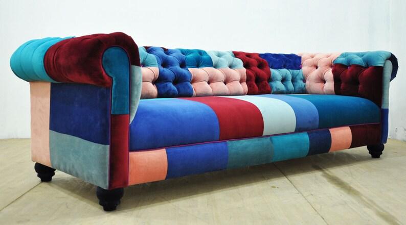 Chesterfield Patchwork Sofa Blue Sky Etsy