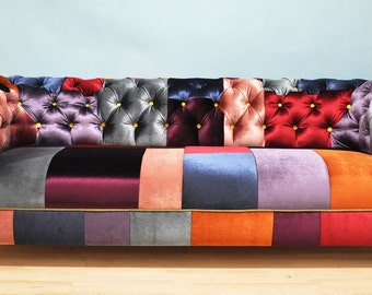 Reserve listing for Hadewich velvet patch- chesterfield patchwork sofa