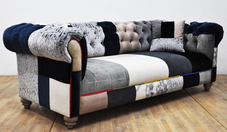 Black White Chesterfield Patchwork Sofa Etsy