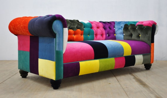 Divano Letto Patchwork : Divano chesterfield patchwork cascata di colore etsy