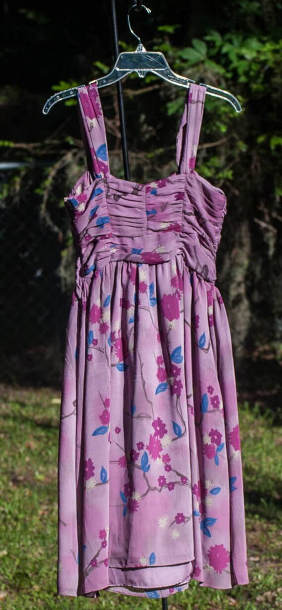 50's Style Lavender Chiffon Floral Summer Dress - image 2