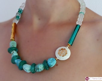 Unique Collier Artisan Necklace Opal Porcelain Glas Beads