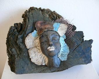 Raku Sculpture - Raku Woman - Ceramic Bust On A Piece Of Bog Oak  - Artwork - Wall Decor