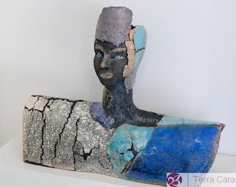 Raku Sculpture - Raku Woman - Ceramic Bust - Artwork