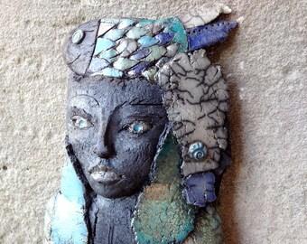 Raku Sculpture - Raku Woman - Ceramic Bust With Fish - Artwork - Wall Decor