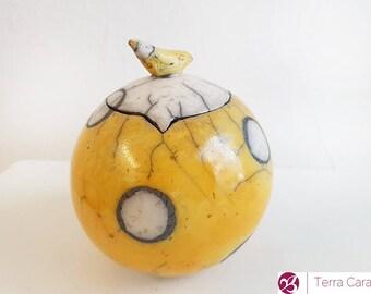 Ceramic Raku Jar Storage With Bird