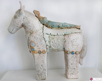Ceramic Sculpture - Dreaming Woman With Horse