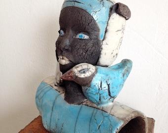 Raku Sculpture - Raku Woman - Ceramic Bust With Bird- Artwork