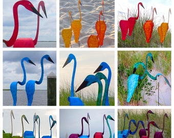 Set of 2 Swirling Birds. Kinetic garden art that spin and twirl with the slightest breeze. Select any 2 of our signature colors.