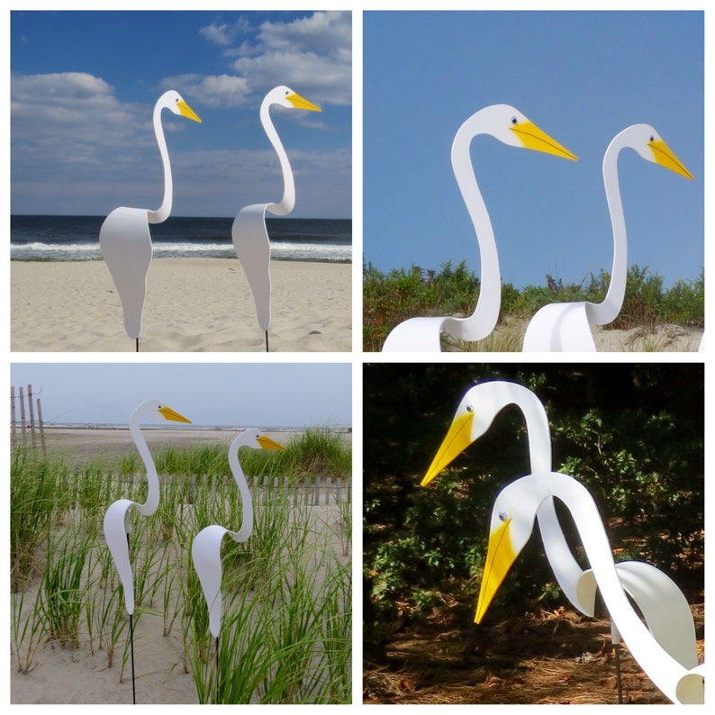 PAIR of White Swirling Birds. Two whimsical kinetic PVC birds image 0