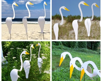 SET of 3 White Swirling Birds. A TRIO of whimsical kinetic PVC birds that swirl with the slightest outdoor breeze.