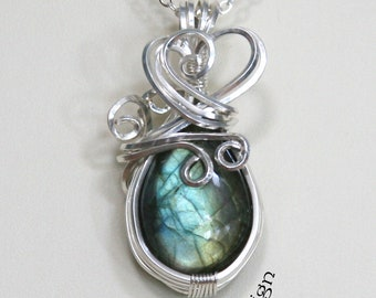 Labradorite Teardrop Gemstone Cabochon Pendant Necklace Sterling Silver  Wire Wrapped Blue Green Flash Spectrolite