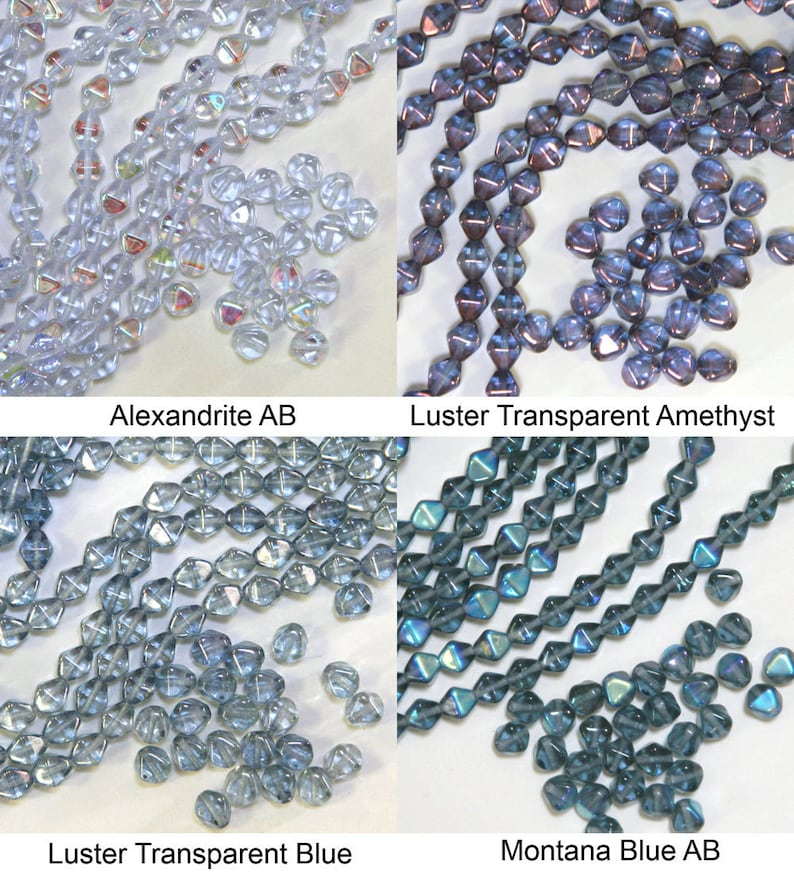 Vintage Czech Pressed Glass Bicone Beads 24-PIECES CHOOSE COLOR!!