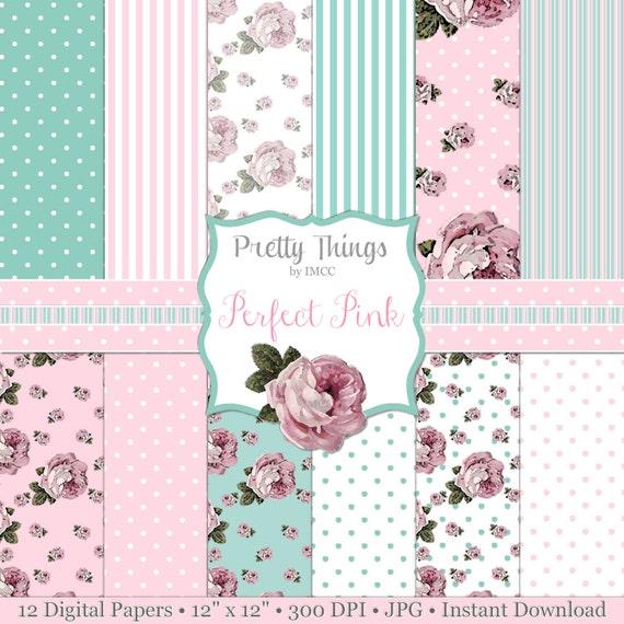 Descargar Shabby Chic rosas puntos rayas patrones perfecto | Etsy