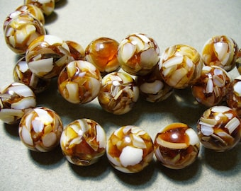 """A 16/"""" String of Brown//Dark Orange Crushed Mother of Pearl and Resin Flat Rounds"""