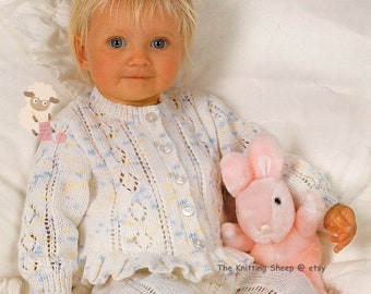 """Baby Girls Lace Sweaters Knitting Patterns with frilled Hem option 16-26/"""" DK 425"""