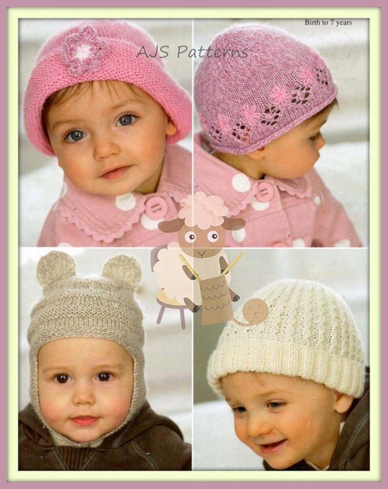 07b00961ba6 PDF Knitting Pattern for 4 Styles of Childs Baby Hats Cloche