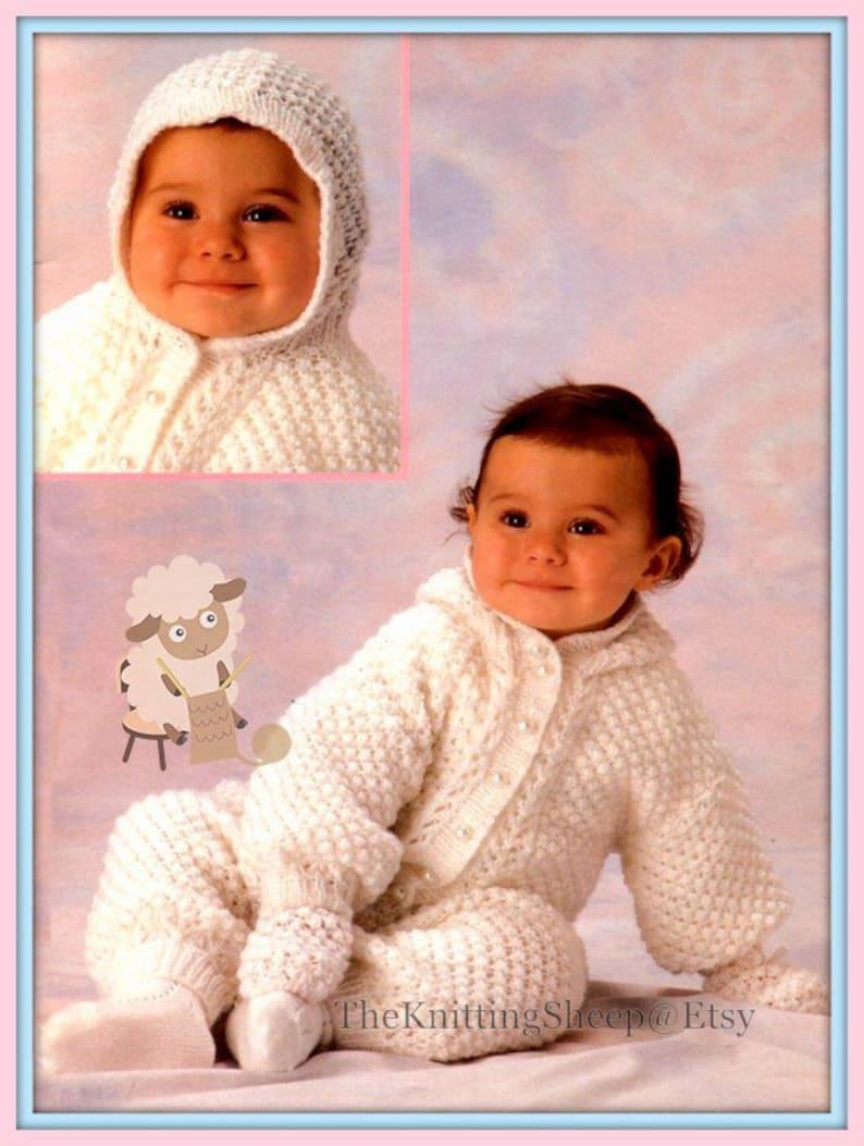 54b0ee390 PDF Knitting Pattern Baby s Jacket Trousers   Mitten