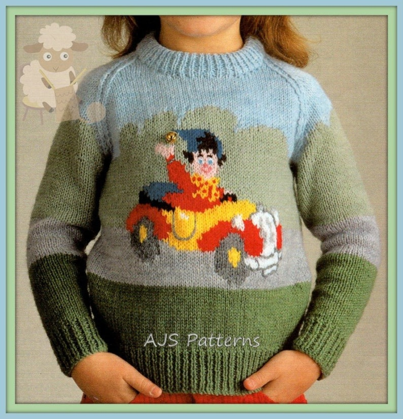 3a712291ef64 PDF Knitting Pattern for a Childs Noddy Motif Sweater