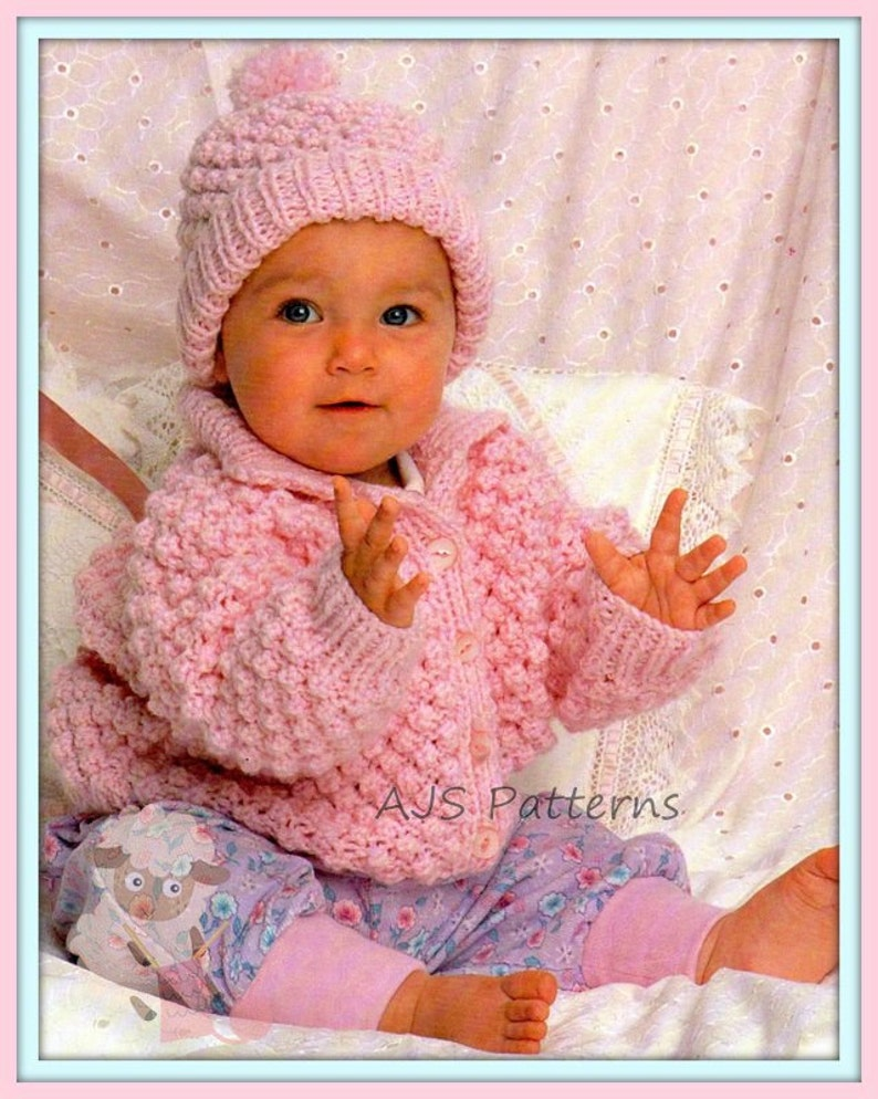 PDF Knitting Pattern Baby Chunky Knit Jacket   Matching Hat  78e72e73aef
