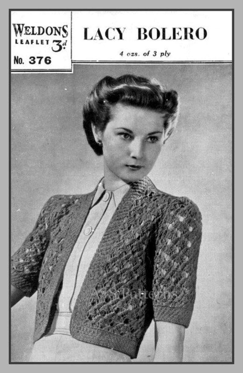 3126e6f98353 PDF Knitting Pattern 1940 s Retro Lacy Bolero Instant