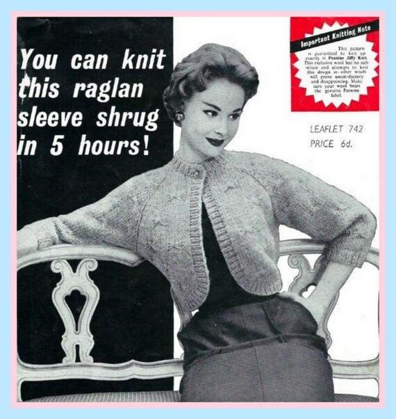 Pdf Knitting Pattern For Ladies Easy To Knit Chunky Raglan Etsy
