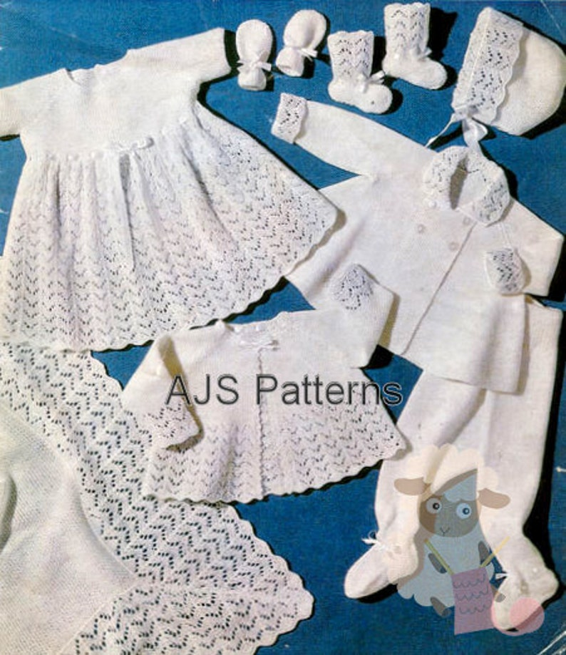 d3e3b4d4a PDF Knitting Pattern Baby Layette Set with an Easy To Knit