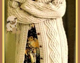 PDF Knitting Pattern - Ladies Longline Cabled Aran Jacket - Instant Download