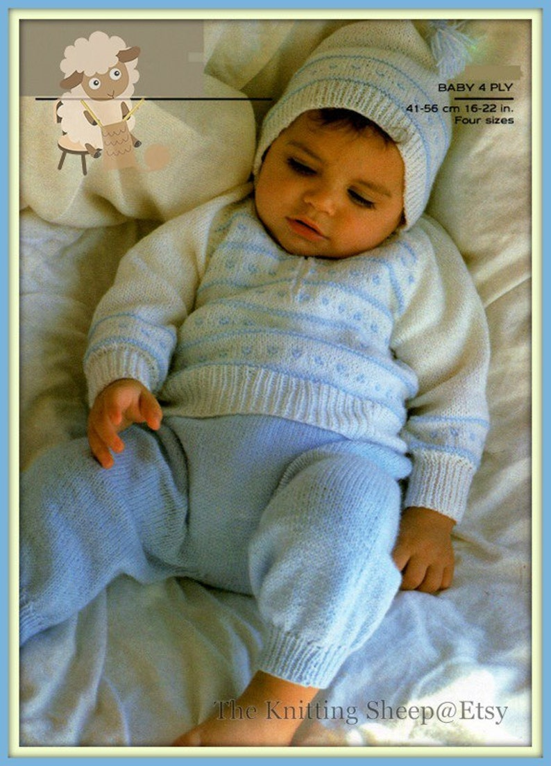 dddeaabe8a20 PDF Knitting Pattern for a Babies Suit with Hood or Hooded
